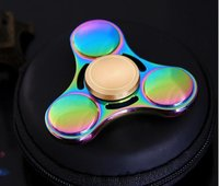 NEW product Fingertip gyro UFO decompression toys metal titanium alloy colorful trefoil colorful hand spinner