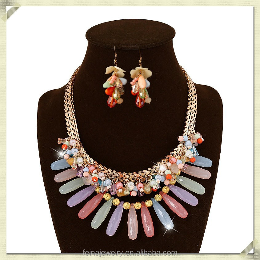 2015 chunky stone beads necklace large acrylic ball necklace earring set beaded necklace and earring sets (TYN-006)