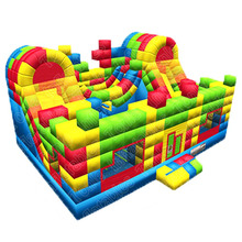 Koombo pixels combo inflatable slide bounce house and obstacle playland for kids