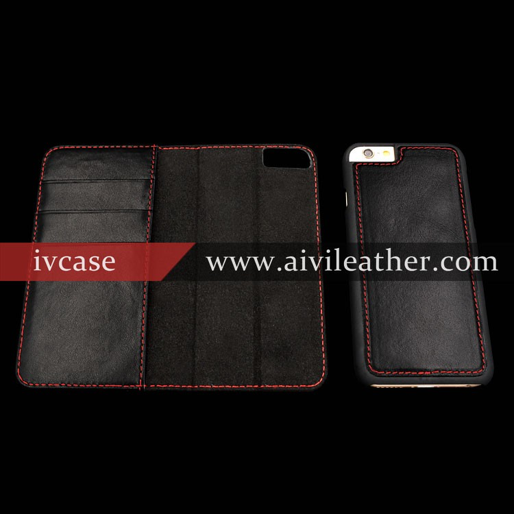 Finest Workmanship Genuine Leather Wallet Case for Apple Iphone 6 Plus Magnetic Case
