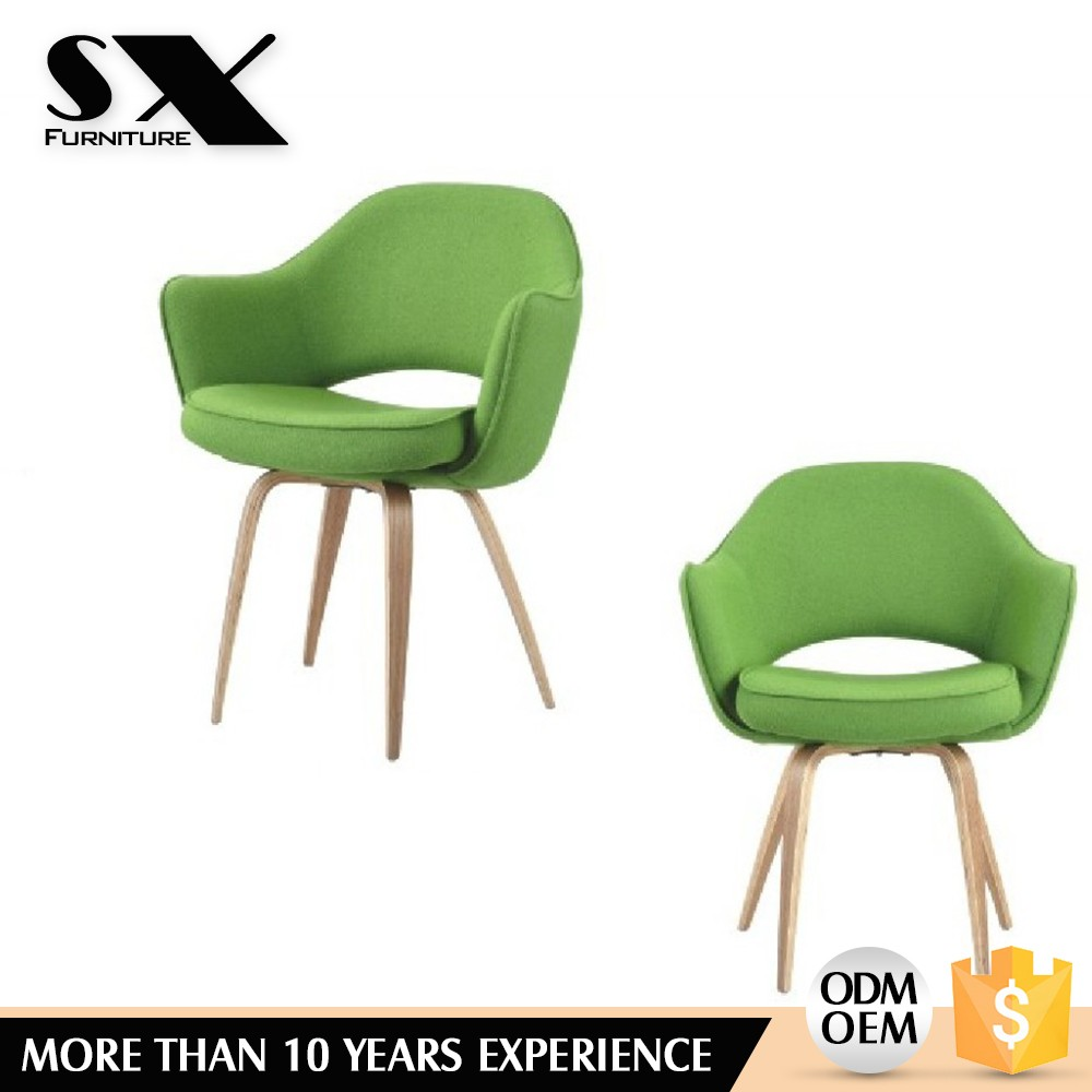 Upholstery wood leg chair with dowel base,seat cushion chair,Modern dining chair wool fabric green coffee shop chair