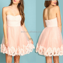 Elegant lace strapless bustier ruffle flare dress oem china supplying sexy short wedding dress