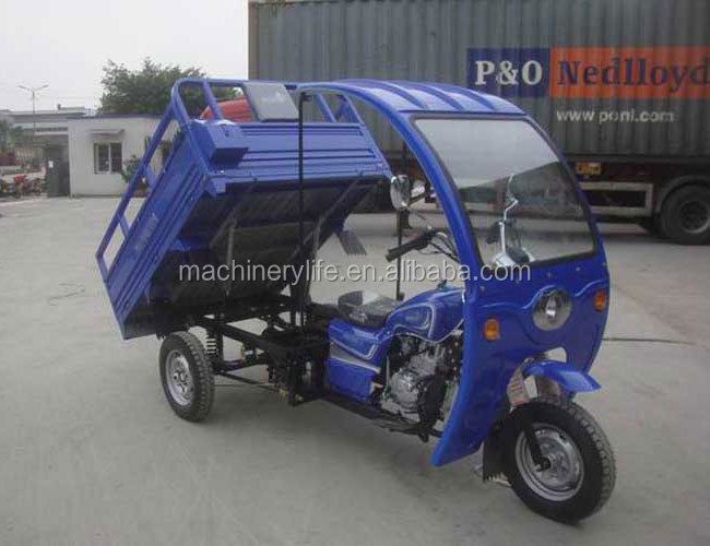 150cc Air Cool Engine Automatic Dumping 3 Wheel Tricycle with ABS Van and Hydraulic Jack Cargo Box