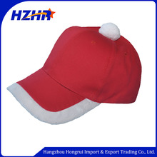 cotton 6-panel red merry christmas winter baseball cap with white plush