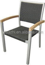outdoor chair in black soft sling in sliver frame with teak wood for home or garden centre use