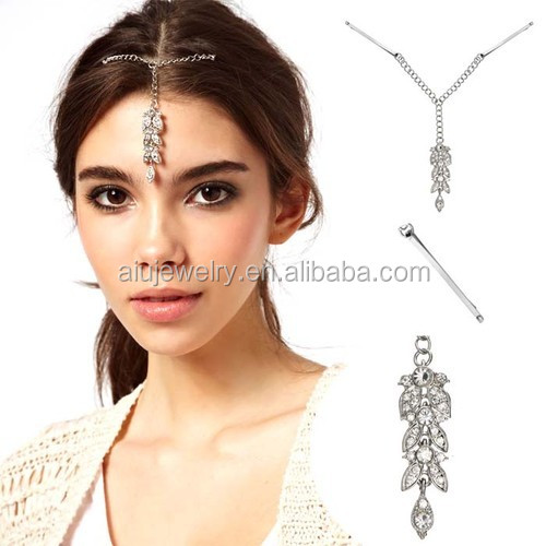 White Gold Plated Crystal Drop Bindi Hair Clip Tikka Indian Head Jewelry