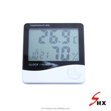 Large sized digital temperature tester with humidity and clock display