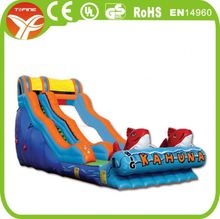 Giant colourful inflatable plastic water slide for kids outdoor sports