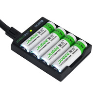4pcs JUGEE 1.5V Li-Ion AA 3000MWH RECHARGEABLE BATTERY With CHARGER Set