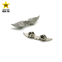 Wholesale manufacturer cheap silver army wings metal military rank insignia