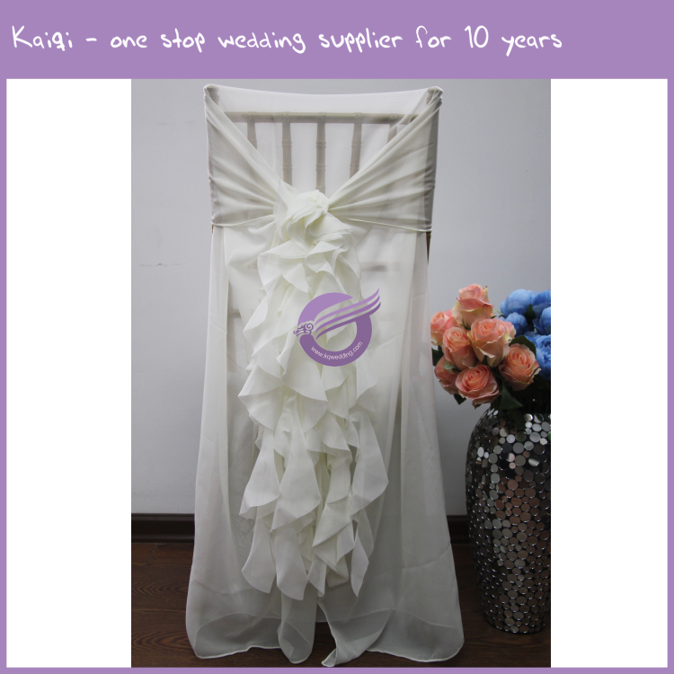 19869 Wedding chair decoration chiffon chair covers curly willow chair sash