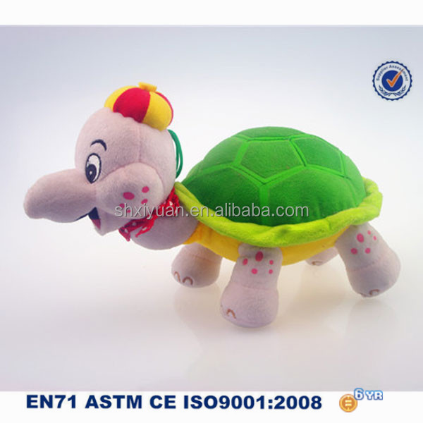 Colorful Animal Plush Toy Custom Stuffed Soft Tortoise Toy with Cap