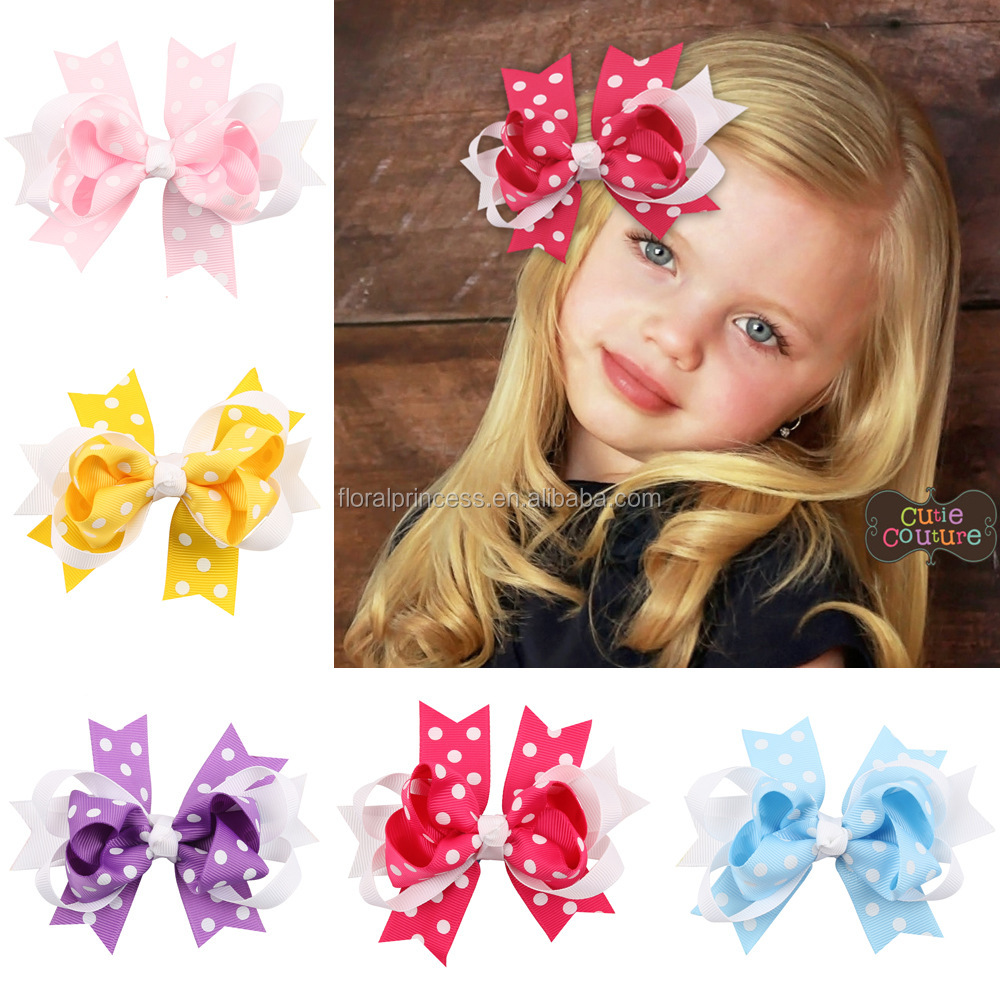 European DIY Ribbon Bows With Clip Kids Baby Multi Color Polka Dot Hairpins Barrette princess boutique hair accessories