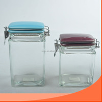 1000ml wide mouth square glass storage jar with ceramic lid airtight