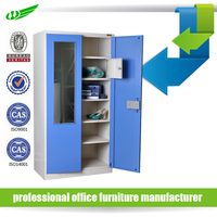 High end 2 door with mirror steel wardrobe for dressing room locker