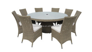 SGS tested Luxury outdoor rattan furniture set Round dining table with chairs