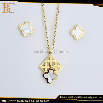 Wholesale alibaba jewelry set gold plated stainless steel set jewelry for women