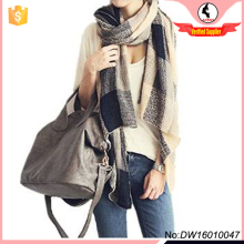 unisex check knit scarf wrap shawl blanket for autumn winter