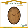 Oval wooden wall clock for promotion or decoration
