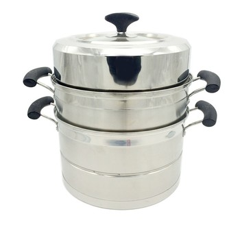 Multi-purpose commercial 3-layer induction cookware stainless steel steamer