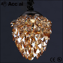 China supplier CE certification 3 head golden crystal pendant light modern led ceiling lamp