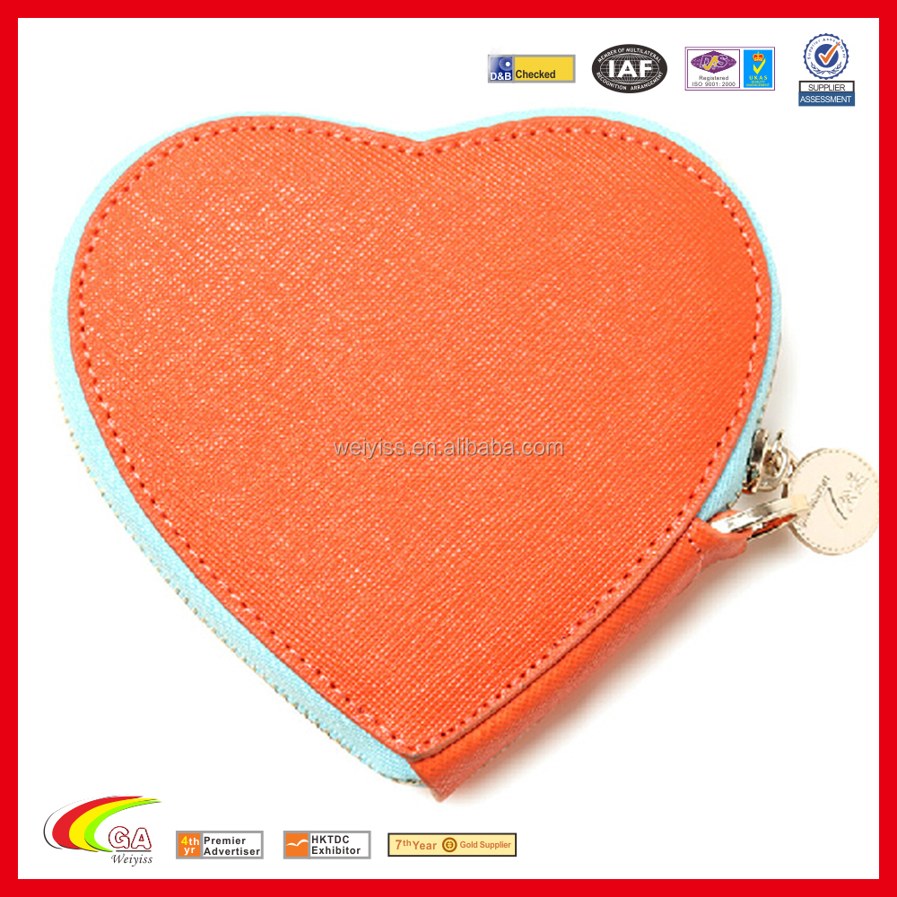 Fancy Heart Shape Leather Coin Purse with Zipper, Delicate PU Leather Coin Pouch for Promotion Gifts