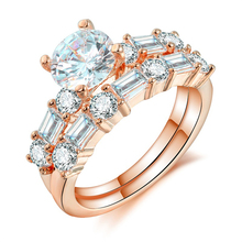 Fashion Luxury Women Jewelry Wedding Rings Set Rose Gold Color CZ Female Wedding Ring Set Two Rings in One