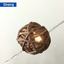 battery operated unique fashion design led christmas lights with rattan ball