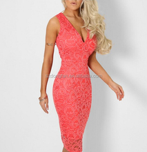 Women Coral Lace Plunge Midi Dress Girls V neck Sexy Dress