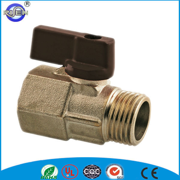 red alu handle small brass 1/2 inch mini ball valve