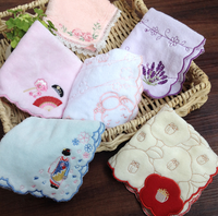 100% cotton lady woven embroidery handkerchief