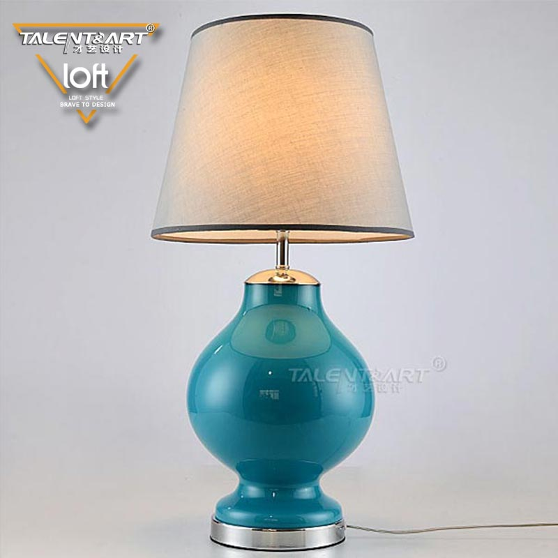 Modern Nordic style handmade fabric + ceramic home goods Chinese bedside table lamp