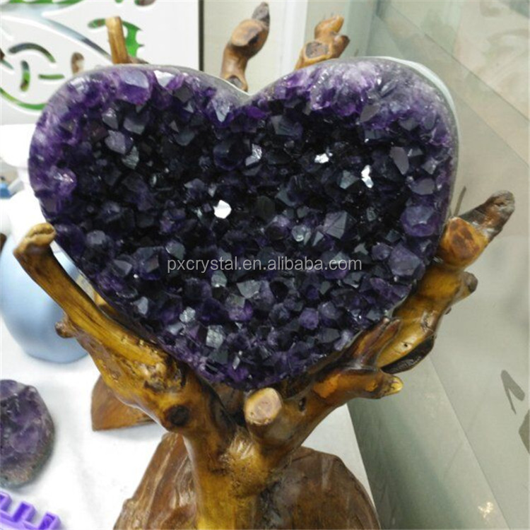 Natural Brazil Heart Shaped Amethyst Geode for Sale