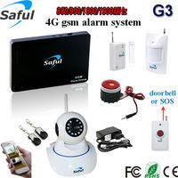 Saful support 2g|3g|4g 433/315mhz frequency gsm security alarm system with Pir sensor ,door detector
