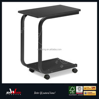 rolling laptop table multi uses moving bedside desk with wheels snack tray table