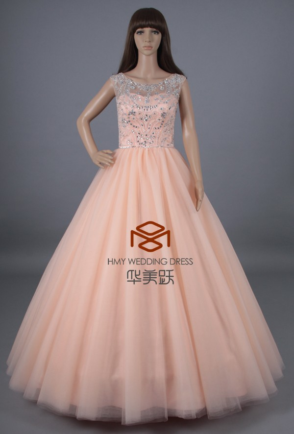2015 New Collection Ball Gown Crystal Western Quinceanera Dresses Cheap Prom Dress HMY-S042