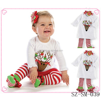 2015 new arrival long sleeve children sets baby santa costumes