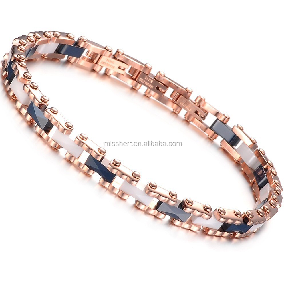 Rose gold stainless steel magnetic bracelet cuff wholesale 447