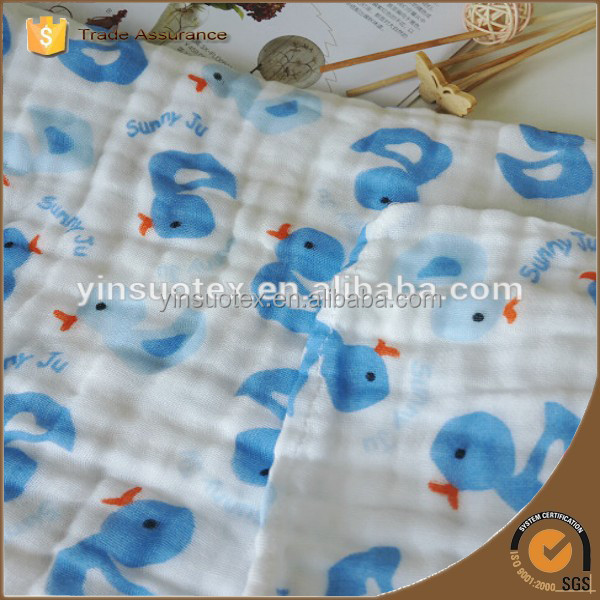 Color blue duck red stars organic cotton fabric for baby soft muslin blanket