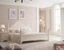 Matt painting high quality white rococo bedroom furniture
