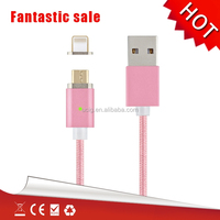 Hot !! Nylon braided slim micro usb cable 1M strong magnetic usb cable for ios and android