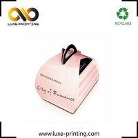 Pink color cute paper box mini cake packaging box cupcake take away paper box with handle
