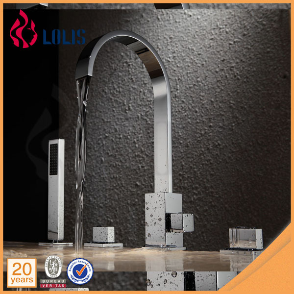 Luxury deck mounted 4pcs bathtub whirlpool waterfall faucet