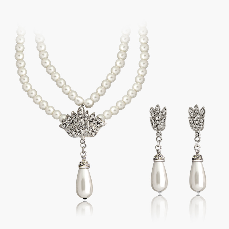 Luxury <strong>set</strong> imtation pearls bridal jewelry <strong>set</strong> with long pendant KJ2485 moonso