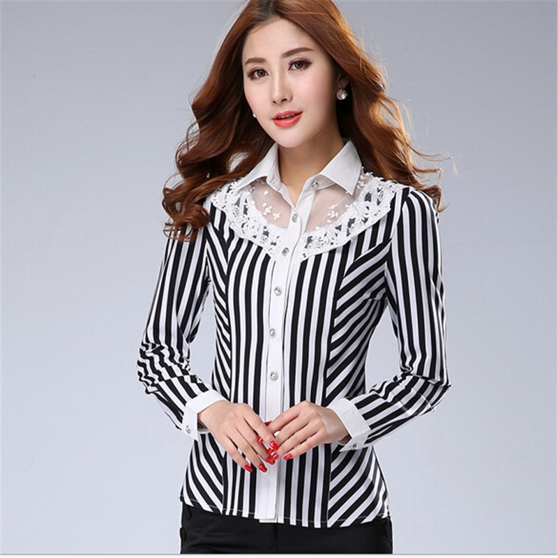 AR009 plus size collar designs 2015 formal striped lace women blouses