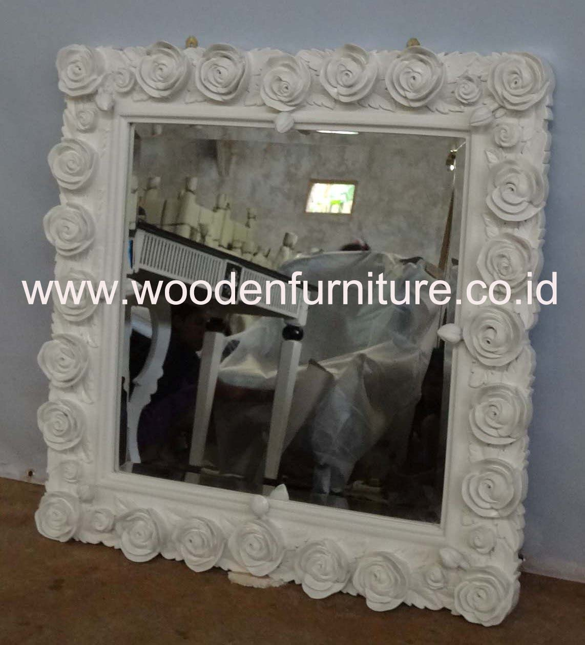French Style Mirror Antique Square Rose Frame Classic Wooden Accessories Vintage Mirror European Style Home Furniture