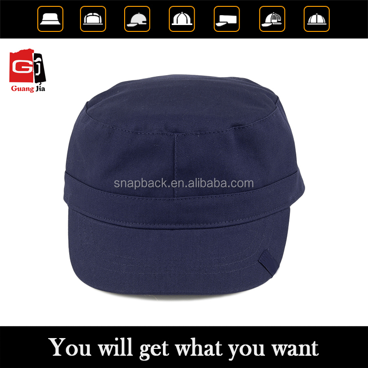 Promotional wholesale hot sale fashion high quality flat top custom design your own logo blank military cap hat