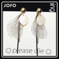 fashion Feather Wing tassels Natural shell earrings,indian top design earring