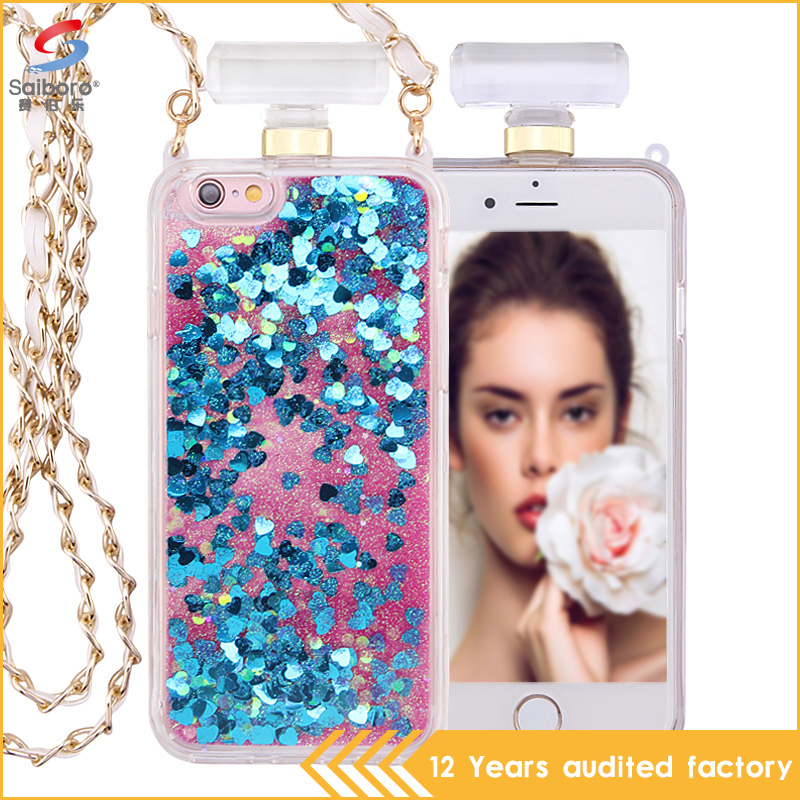Hot selling liquid glitter perfume bottles cute bumper case for iPhone5 6 6plus