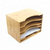 Office Bamboo Wood File Organizer Tray with Adjustable Dividers